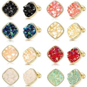 Jewelry - ‼️BOGO FREE Druzy Stone Square Stud Earrings Gold